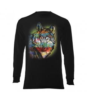 Tee-shirt manches longues motif Loup coloré