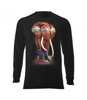 Tee-shirt manches longues motif Eléphant coloré