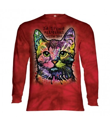 Longsleeve T-Shirt with Colourful Cat design