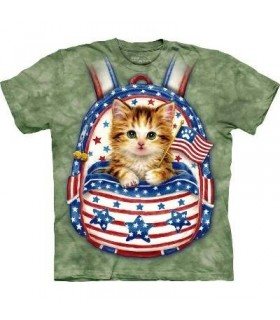 Patriotic Backpack Kitten - Cats T Shirt by The Mountain