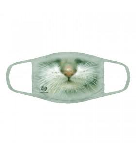 3-ply cotton face mask Green Eyed Kitten design The Mountain
