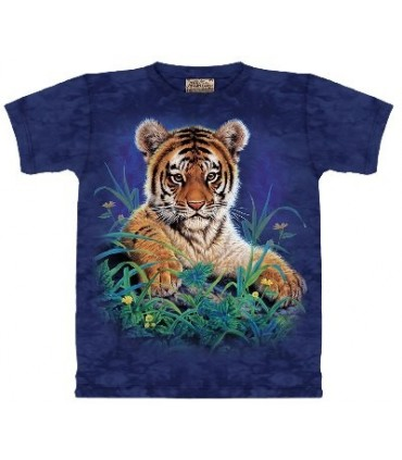 Tiger Cub in Grass - Animal T Shirt by the Mountain