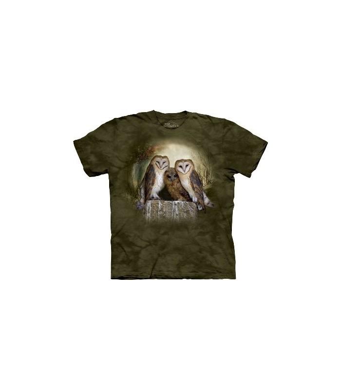 T-Shirt 3 Hiboux dans la Lune par The Mountain