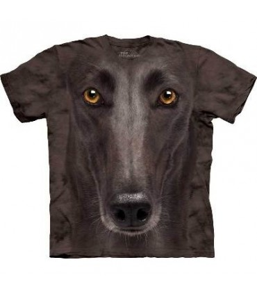 Black Greyhound Face - Dogs T Shirt by the Mountain