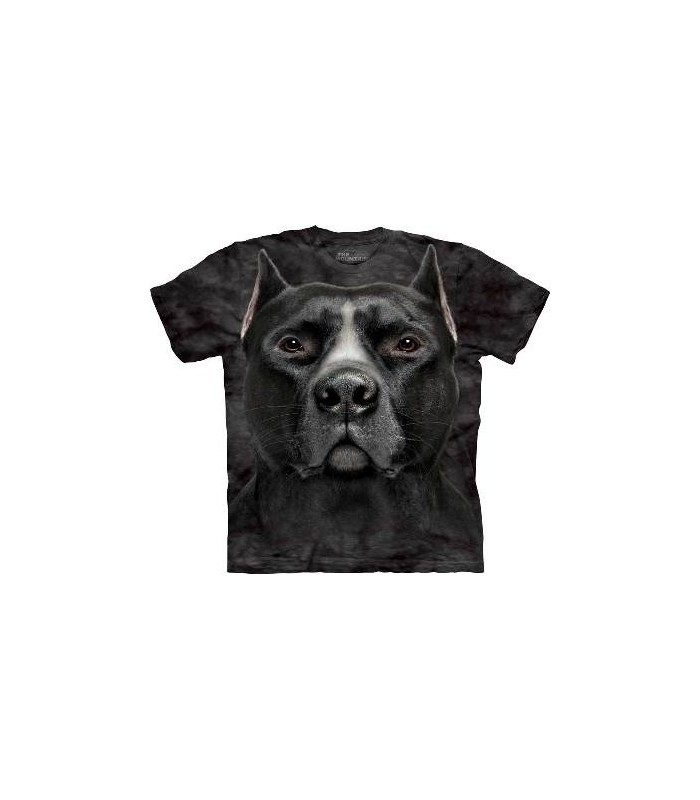 Black Pitbull Head - Dogs T Shirt by the Mountain