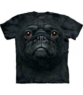 Black Pug Face - Dogs T Shirt by the Mountain