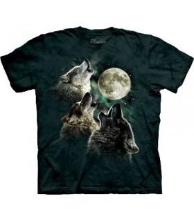 T-Shirt 3 Loups à la Lune par The Mountain