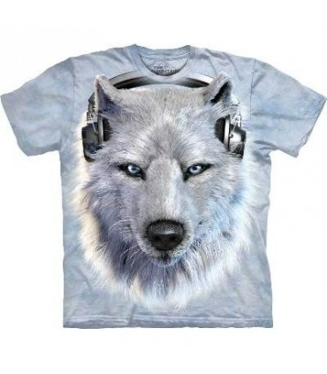 T-Shirt Loup Blanc DJ par The Mountain