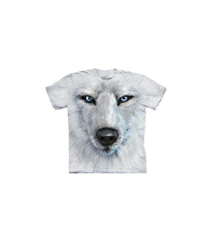 White Wolf Face - Wolf T Shirt by the Mountain