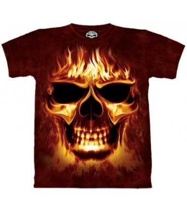 T-Shirt Crâne en Feu par The Mountain