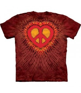 Red Peace Heart - Inspirational T Shirt by the Mountain