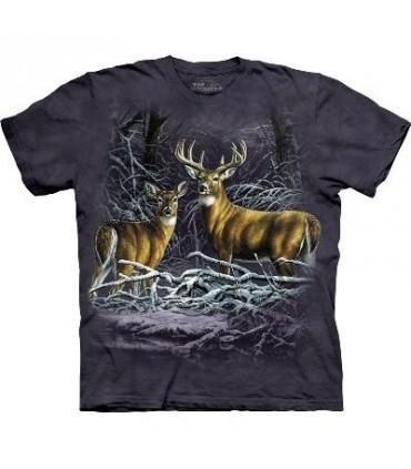 Deux Cerfs dans les branches - T-Shirt animal par The Mountain