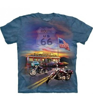 Route 66 - Biker T Shirt by the Mountain