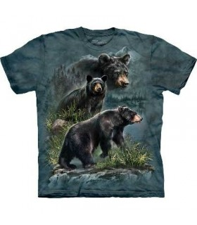 Three Black Bears - Animals T Shirt by the Mountain