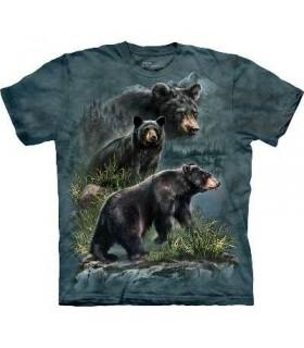 Trois Ours Noirs - T-shirt animal par The Mountain