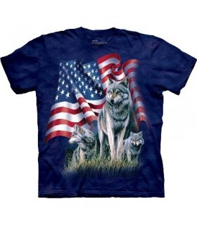 Drapeau et Loups - T-Shirt USA The Mountain