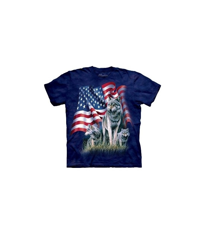 Drapeau et Loups - T-Shirt USA The Mountain