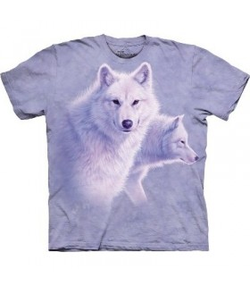 Graceful White Wolves - Animal T Shirt The Mountain