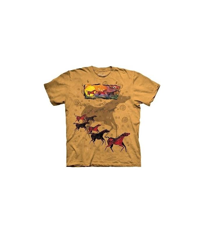 Chevaux sauvages rouges - T-shirt Amérindien par The Mountain