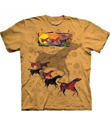 Chevaux sauvages rouges - T-shirt Amérindien par The Mountain