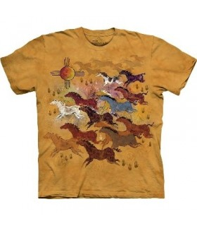 Chevaux et Soleil - T-shirt Amérindien The Mountain