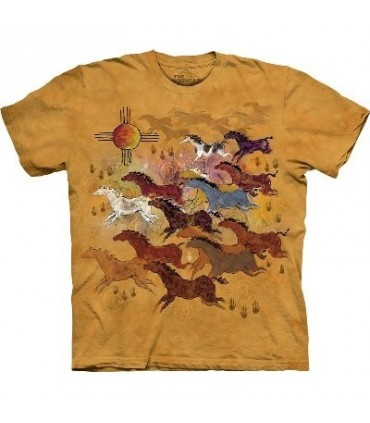 Horses and Sun - Native Americans T Shirt by The Mountain