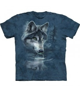 Wolf Reflection - Zoo Animals T Shirt by the Mountain