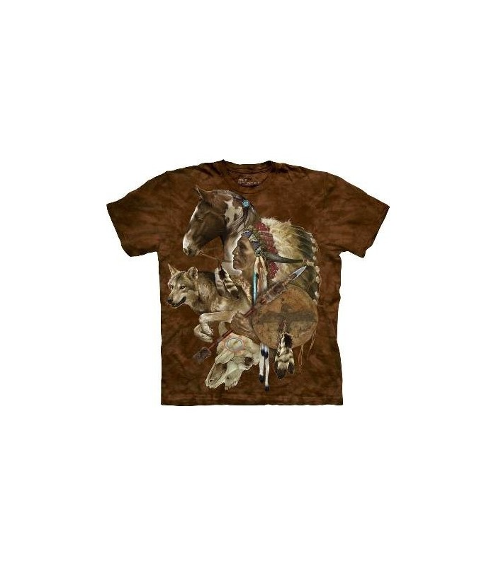Wolf Spirit Warrior Native American T Shirt by the Mountain