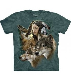 Wild Spirit Maiden - Native American T Shirt by the Mountain