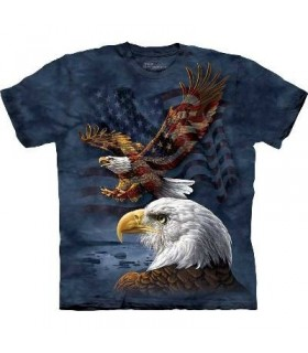 Eagle Flag Collage - Patriotic Eagle T Shirt by the Mountain