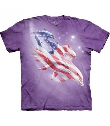 Patriotic Dolphins- Aquatics T Shirt by the Mountain