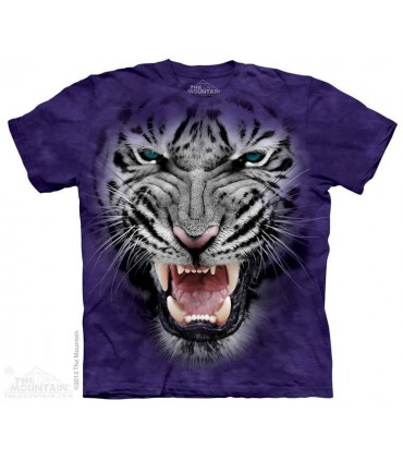 Raging Big Face White Tiger - Big Cat T Shirt The Mountain