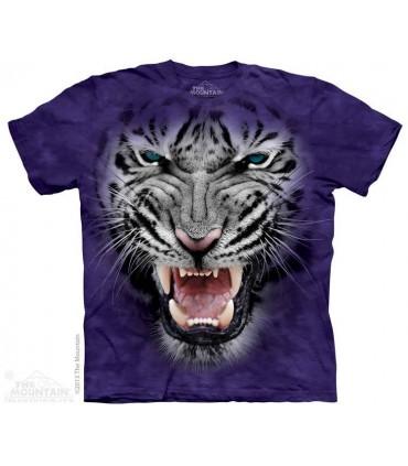 Raging Big Face White Tiger - Big Cat T Shirt The Mountain